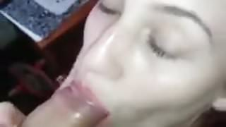 Red painted girl loves to suck cock