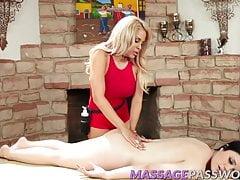 Gorgeous lesbians Luna and Yhivi rubbing their tight holes