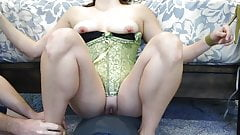 Moanin Mrs Grey - tied, licked, play with shaved pussy