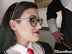 Pussyloving TS nun doggystyles student analy