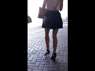 #57 Blond girl with sexy legs in high heels