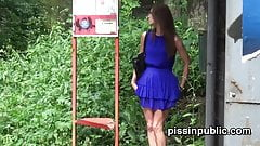 Czech girls get caught pulling their pants and peeing at a b