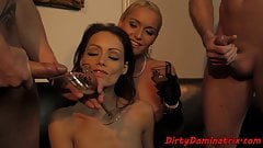 Sub beauty doublepenetrated in foursome