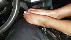 Black footjob in patrol car pt 1
