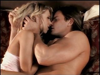 Beautiful blonde with incredible body makes love to man on bed