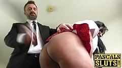 MILF schoolgirl Nicole du Papillon dominated into eating cum