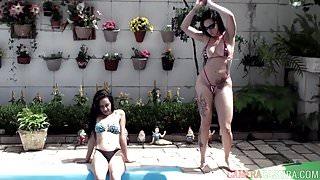 Gatas safadas tomando banho de sol na piscina