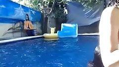 Swiming pool party girls