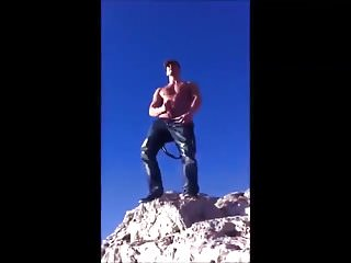 Guy jerking off and shooting a huge load in the gay cruising