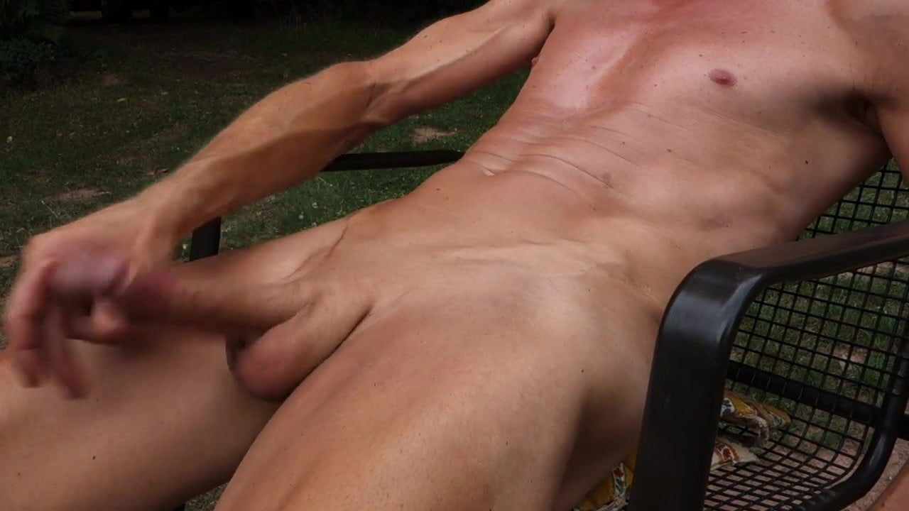 Hairless Outdoor penis with cumshot