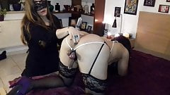 sissy with tied balls gets teased and milked by girlfriend