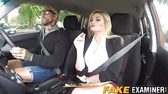 Busty driving examiner Katy Jayne bouncing on learners dick
