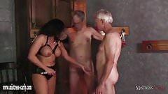 Mistress Carly feeds cuckold slave her hot spunky pussy