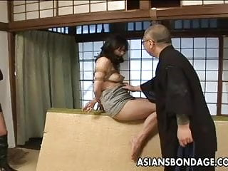 Preview 2 of Tied up Asian babe gets spanked and dildo fucked