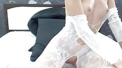 Awesome pussy & ass fuck with Dildo White body stockings