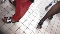 MILF in black pantyhose and high heels.