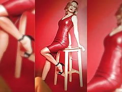 Glukoza red leather dress cum tribute