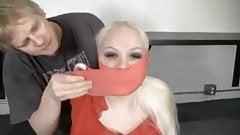 Busty Blonde BBW Hogtied and Gagged