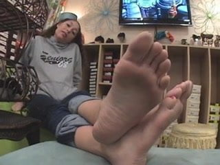 Claire and Dre worshiping feet all night long