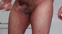 Bear with thick cock shower fun