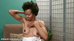 Hairy Natural Black Goddess Ariela shows her body