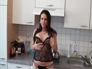 hot german lingerie fucked in kitchen nice facial