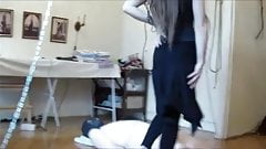 Teen Domina feet dancing on her slave
