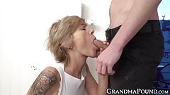 Beautiful granny sucks dick and gets her juicy pussy licked