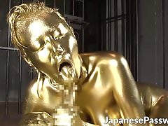 Japan babe giving a quality and golden blowjob in dungeon