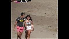 White Cheeky Shorts at the Beach