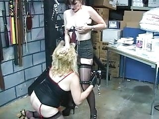 Brunette babe binds DD blonde then attaches clamps to her nipples