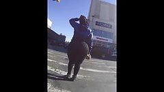 Amazing Huge Candid Phat Monster Booty in Black Leggings