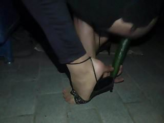 crossdresser night with pink toe nails and cucumber 4