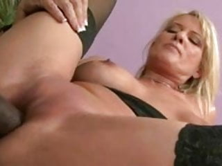 Hot blonde riding black cock at home
