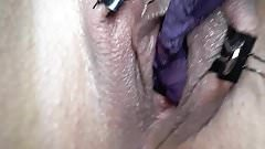 Purple panty in plump pussy