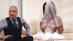 Alluring emo babe banged in a wedding dress