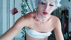 Gay twink with blue hair slays in front of webcam