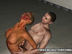 Busty 3D Zombie Babe Gets Fucked Hard