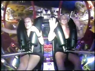 Girl orgasms on roller coaster
