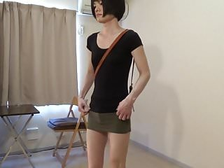 Preview 1 of crossdresser wearing a mini skirt