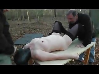 Slut Wife in Forest Gangbang Full Rubber Hooded Part2