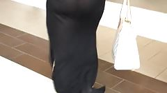 Trophy Wife In Transparent Dress Shows Thong