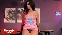 Tgirl goddess barebacked after bar striptease