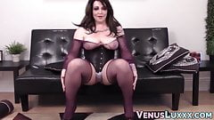 Voluptuous shemale shows off body and tugs tender cock