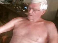 grandpa plays with his dick
