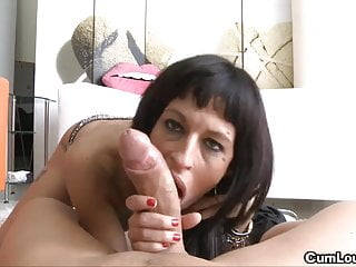 Nasty Lia M takes a load of cum over her face