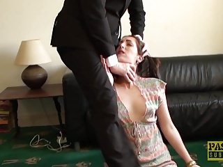 English sub slut punished and facialized by rough dom