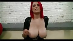 Huge boob POV redhead facial