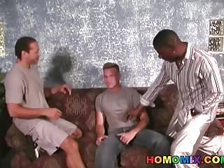 Preview 1 of Blonde dude gets assfucked by black men