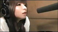 Cute asian girl recording hentai voice
